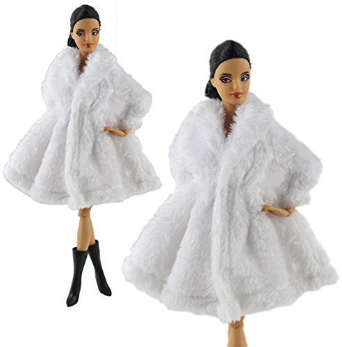 Fur Coats Clothes + 1 Pair Boots Made Fit for Barbie Doll ()