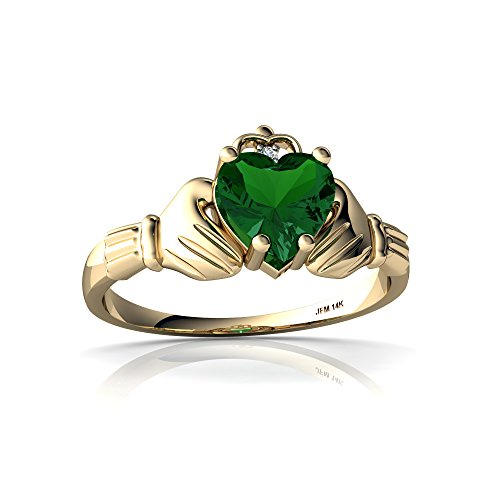 14kt Yellow Gold Lab Emerald and Diamond 6mm Heart Claddagh Ring - Size 4.5