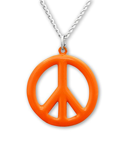 (Real Metal Hippie Peace Sign Neon Orange Enamel Pewter Pendant Necklace)