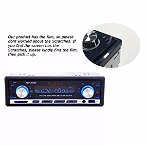 AUDEW Bluetooth Car Audio Stereo In Dash 12V Audio Player FM Receiver with MP3 USB/SD AUX Receiver 60Wx4+ Remote Control