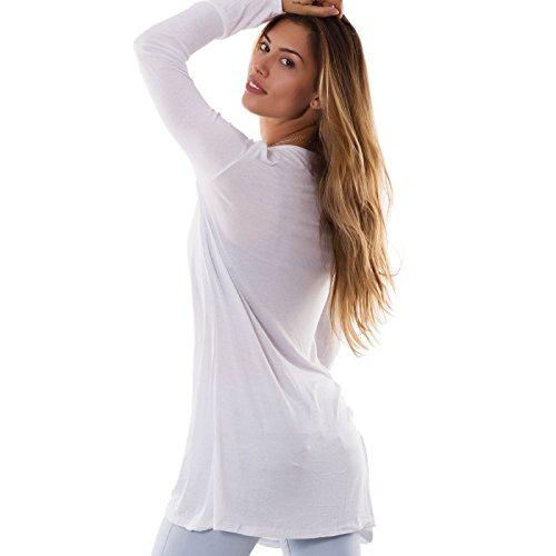 cardigan AS bottoni lungo Panna 1418 trasparente donna Spolverino nuovo Toocool maglia EYn8qt