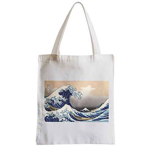 Große Tasche Sack Einkaufsbummel Strand Schüler Hokusai Kanagawa Wellen Ansicht der Fujisan