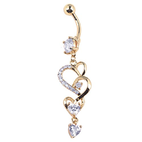Belly Button Chains - Joylive Love Heart Crystal Gem Navel Buckle Belly Ring Piercing Body Diamond Inlaid Nail Button