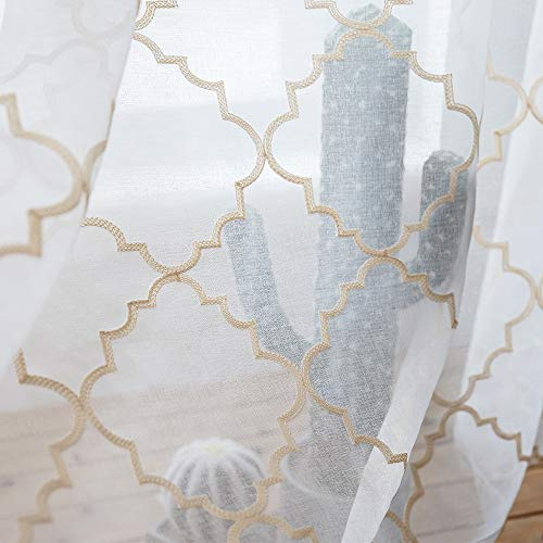Embroidery Sheer Curtains Gold 45 Inch Length, Rod Pocket Voile Drapes for Living room, Bedroom, Embroidered Moroccan Tile Lattice Design Window Semi Curtains for Patio, Yard, 2 Panels, 52