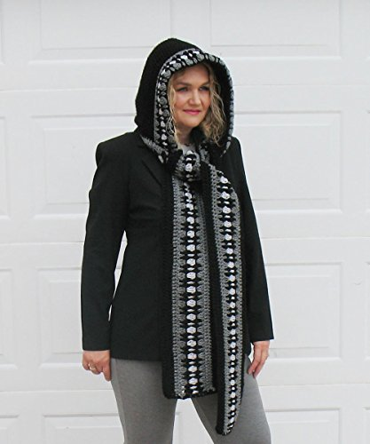 Crochet Hooded Scarf - Black Grey Scarf - Woman Wrap - Handmade Christmas Gift Made in USA