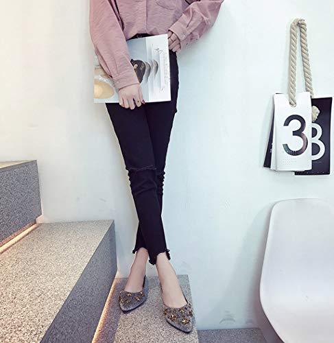 FemmeMocassins Sonnena Bout Femmes Travail Chaussure Casual Plates Pointu Argent Mode De Bling Soirée Chaussures Pour Métal I7vYf6ygb