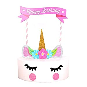 Happy Birthday Cake Topper Unicorn Cake Flag Birthday Party Supplies Cake Decoration for Baby Birthday Party