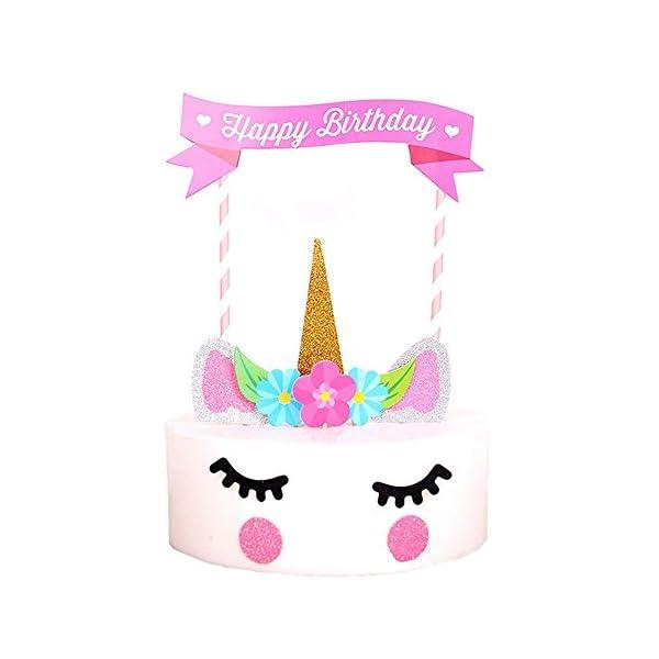 Happy Birthday Cake Topper Unicorn Cake Flag Birthday Party Supplies Cake Decoration for Baby Birthday Party 4