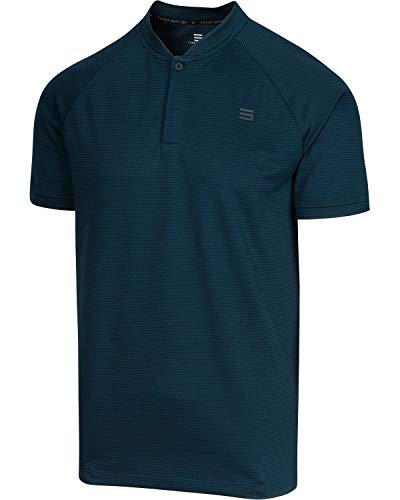 (Three Sixty Six Collarless Golf Shirts for Men - Men's Casual Dry Fit Short Sleeve Polo, Lightweight and Breathable Midnight Blue)
