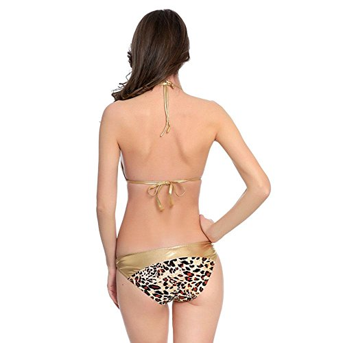 Bikini una sola pieza las mujeres WANGXN Leopard-Striped Swimwear con un traje de baño playa cuello leopard yellow