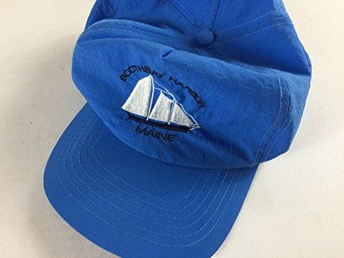 Boothbay Harbor Maine Hat Vintage Snapback Cap Lightweight Blue Ship Boat Ocean Gift