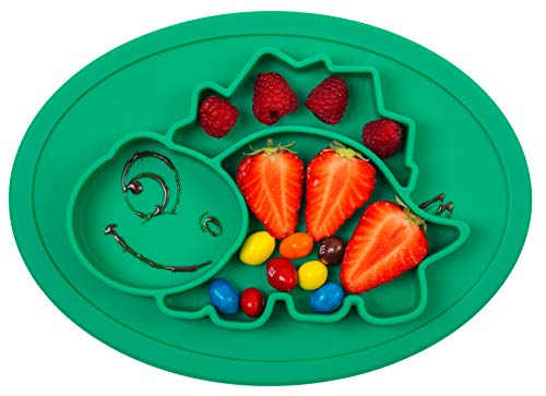 Qshare Toddler Plate, Portable Baby Plate for Toddlers and Kids, BPA-Free FDA Approved Strong Suction Plates for Toddlers, Dishwasher and Microwave Safe Silicone Placemat 11x8x1 - Placemat Dinosaur