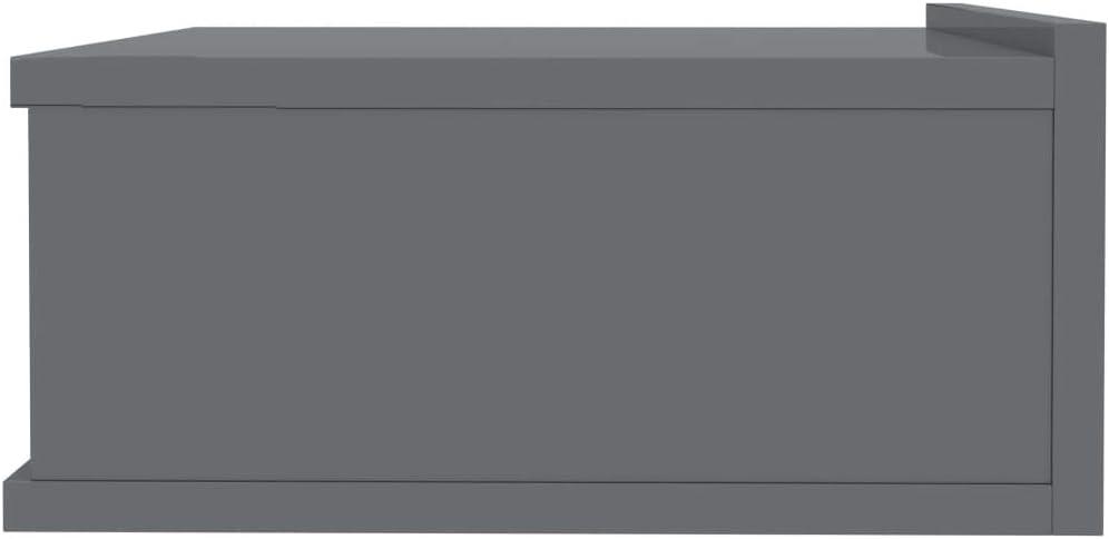 vidaXL Comodino Pensile Compatto Robusto Classico Elegante Decorativo Pratico Tavolino Notte Mobiletto Armadietto Grigio Lucido in Truciolato Premium