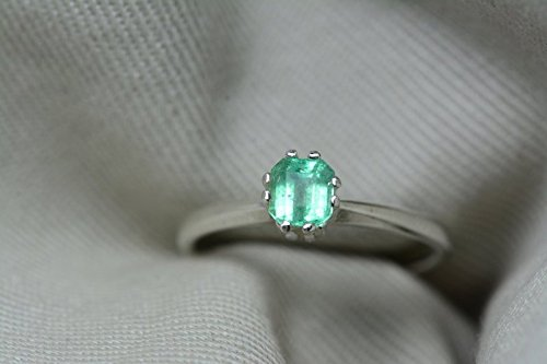 - 0.44 Carat Genuine Colombian Emerald Solitaire Ring In Sterling Silver Appraised