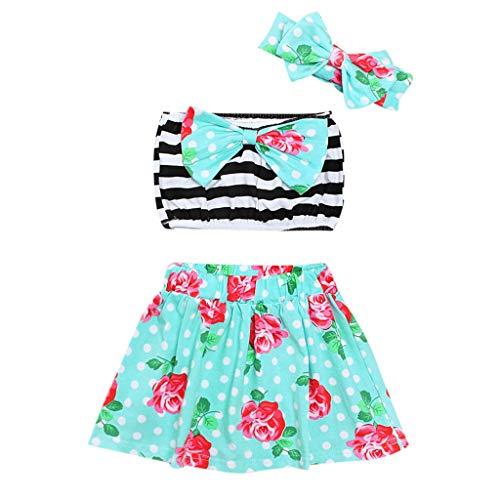 Sunhusing Cute Little Girls Sleeveless Striped Tube Top Bow Floral Print Swimsuit+Short Skirt+Hairband Set Green