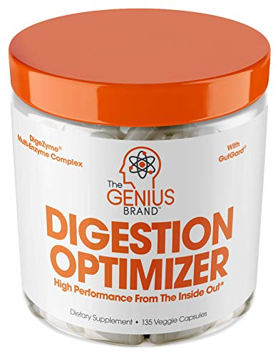 Genius Digestive Enzymes for Digestion & Total Wellness | Restore Gut Heath w/Bromelain, Ginger Root & Prebiotics - Natural Relief Formula for Gas, Heartburn, Constipation | 135 Vegetarian Capsules (Best Supplements For Healthy Gut)