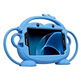 Samsung Galaxy Tab 3/4/A/E Lite 7.0 inch Case for Kids - CHINFAI [Double-faced Monkey Series] Shock Proof Handle Stand Silicone Protective Cover for Samsung Model P3200 SM-T230 SM-T113 SM-T280 (Blue)