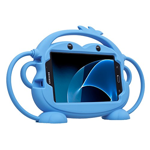 CHINFAI Kids Case for Samsung Galaxy Tab 3/3 Lite/4/E Lite 7.0 inch Tablet [Double-Faced Monkey Series] Shock Proof Handle Stand Protective Cover Compatible with Model P3200 SM-T230 SM-T113 (Blue) (3 Galaxy Kids Tab)