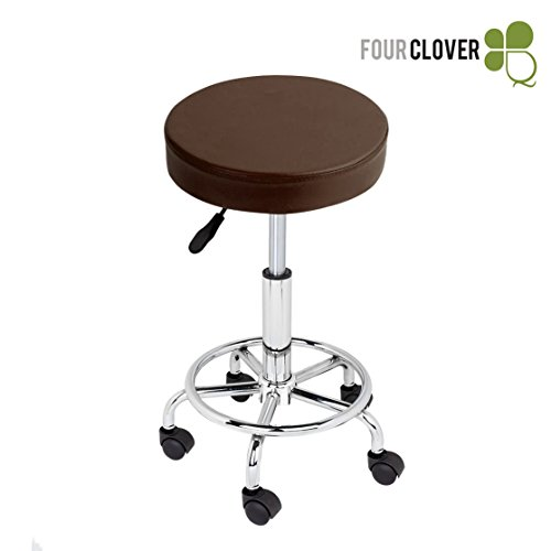 FOUR CLOVER Beauty Hydraulic Rolling Medical Tattoo Massage Facial Spa Salon Stool Chair With Foot Rest (Coffee Brown)