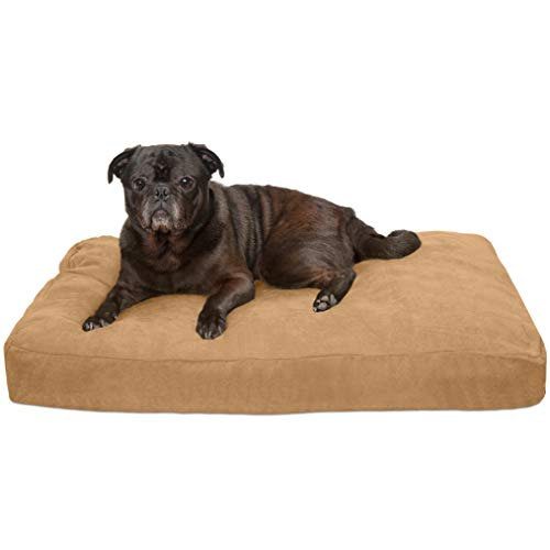 - FurHaven Pet Dog Bed | Deluxe Quilted Suede Pillow Pet Bed for Dogs & Cats, Camel, Medium