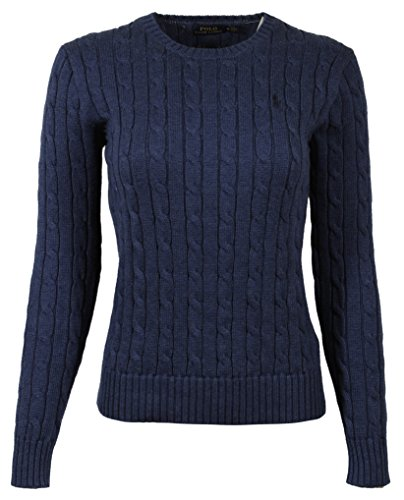 (Polo Ralph Lauren Womens Cable Knit Crew Neck Sweater (Small, Blue Heather))