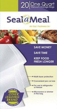 Rival VSB4-6 Seal-a-Meal 1-Quart Vacuum Sealer Bags, by Food