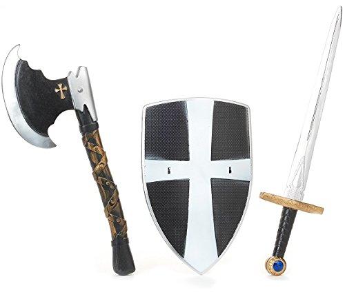 Bouclier + Epee 50cm + Hache 40cm de chevalier médiéval dc