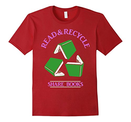 Men's Recycle Books Shirt Bookstore Library Librarian Reader Gift Small Cranberry