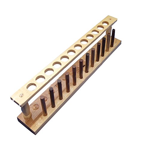 Wooden Test Tube Rack, 21mm Diameter 12 Holes and Pins-Solid Wood,16.34