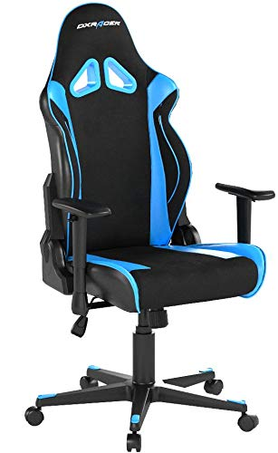 DXRacer Racing Series OH/RW106 Racing Style Bucket Seat Ergonomic Executive Office Gaming Chair Computer eSports Desk Chair With Lumbar Support Pillows (Black, Blue) DXRACER