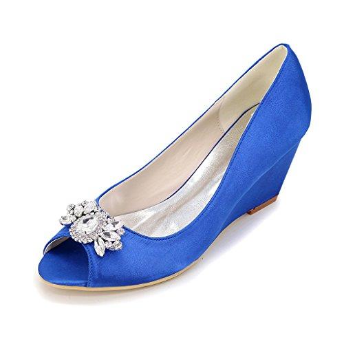 Yy-rui Chaussures Dames Pompes Talon Compensé Élégant Talon Haut Avec Soirée De Fête Diamant Bleu De Travail