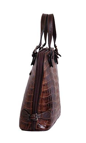 Femmes Real Leather Hobo Doctor Sac à main en forme de A305 Brun Top Fashion Bag Terminer Croc