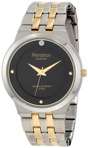 Armitron Men's 204725BKTT Diamond Accented Two-Tone Stainless-Steel Black Dial Dress Bracelet Watch