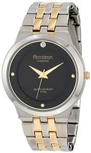 Armitron Men's 204725BKTT Diamond Accented Two-Tone Stainless-Steel Black Dial Dress Bracelet Watch