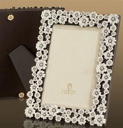 L'Objet Platinum Pearl Flower Frame, Fresh Water Pearls & Crystals 4x6 (Frame Pearl Flower)