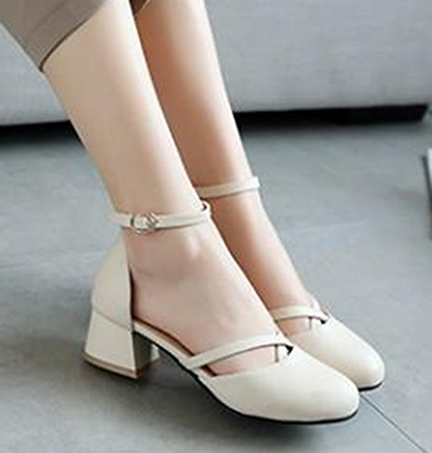 Ankle Block Dressy Round With Strap Sandals Dorsay Beige Easemax Mid Buckled Toe Womens Heels UnxHP