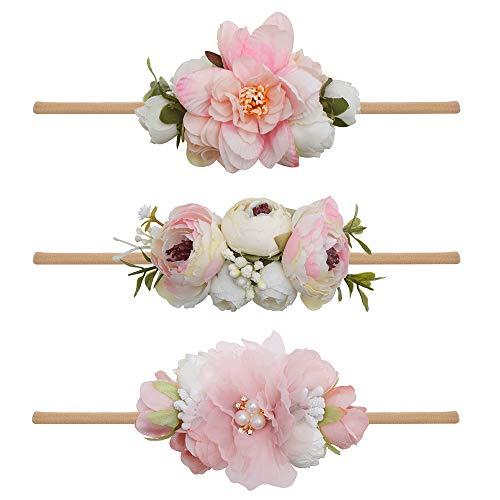 Pink Newborn Headband - Baby Girl Floral Headbands Set - 3pcs Flower Crown Newborn Toddler Hair Accessories by mligril
