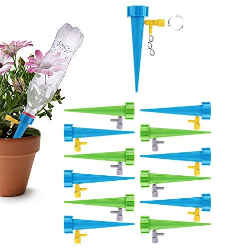SIMENMAX 12 PCS Plant Spikes System with Slow Release Control Valve Switch Self Irrigation Watering Drip Devices for Outdoor Indoor Flower or Vegetables (Plant Automated Watering)