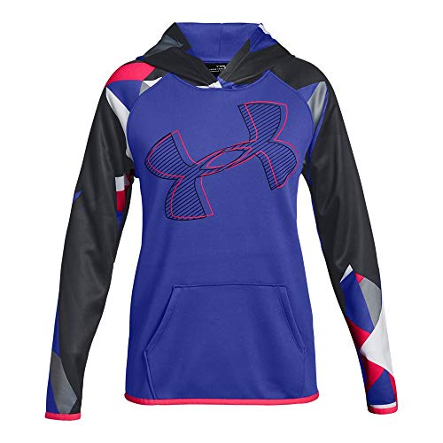 Under Armour Girls Armour Fleece Hoodie Printed Logo, Constellation Purple (530)/Penta Pink, Youth X-Large