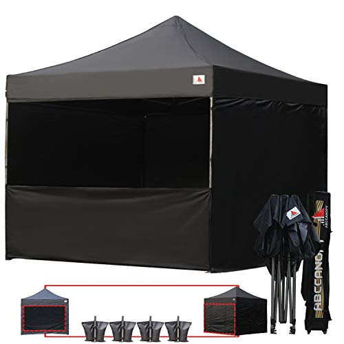 (ABCCANOPY 10 x 10 Easy Pop-up Canopy Tent Gazebo Commercial Market stall with 4 Removable Sidewalls and Roller Bag Bonus 4 Weight Bags and 10ft Screen Netting and 10ft Half Wall, Black)