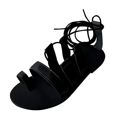 Roman Sandals Halloween - Women's Knee High Roman Sandals,Girls Lace Up Gladiator Halloween Thongs Sandals Summer Cross-Strap Flat Sandal Boot Open Toe (Black, US:8)