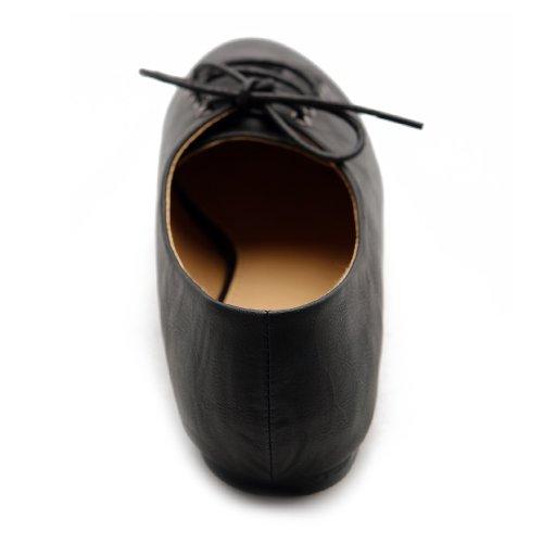 Shoe Oxford Ollio Flat Ballet Women's Multi Color Up Lace Black R88qtPx