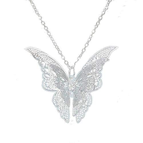 Trenro Women's 925 Sterling Silver Plated Butterfly Pendant Necklace