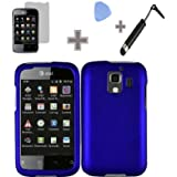 SODIAL(R) Rubberized Solid Blue Color Snap on Hard Case Skin Cover Faceplate with Screen Protector, Case Opener and Stylus Pen for Huawei Fusion 2 U8665 - AT&T
