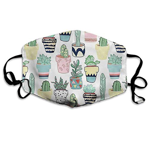 Cactus Plants Pattern Washable Reusable Safety Mask, Cotton Anti Dust Half Face Mouth Mask for Kids Teens Men Women Lovers Dustproof with Adjustable Ear Loops
