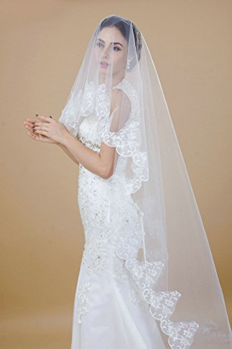 Handmade 1 Tier Chapel Length White Lace Edge/Rhinestones Bridal Veils, Headpieces/Headdress/Headwears with No Combs for Bride in Wedding (3M)