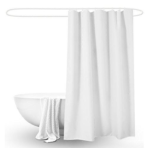 SuperGrowing Mildew Resistant Fabric Shower Curtain Waterproof Water-Repellent & Antibacterial Odorless, white 72 x 72 inches with Rustproof Grommets Plastic Rings