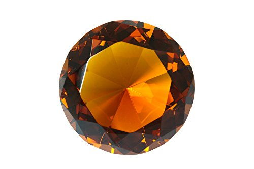 (100 mm Amber Orange Diamond Shaped Crystal Jewel Paperweight by Tripact - 04)