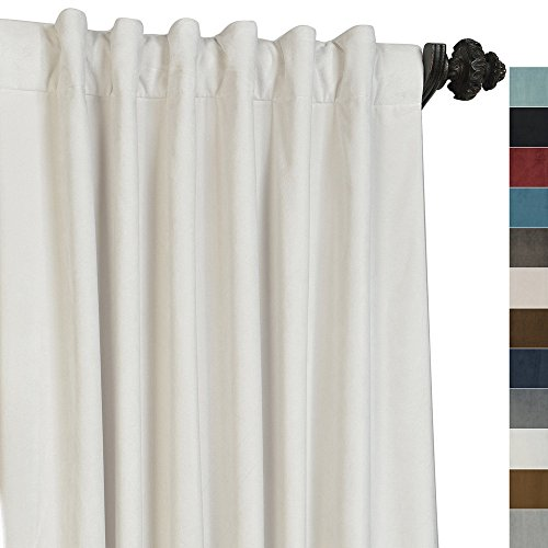 Wash Velvet Curtains - ChadMade Set of 2 Solid Matt Velvet Curtain Panel Drapes Back Tab/Rod Pocket Off White 50W x 84L Inch Each, BIRKIN Collection