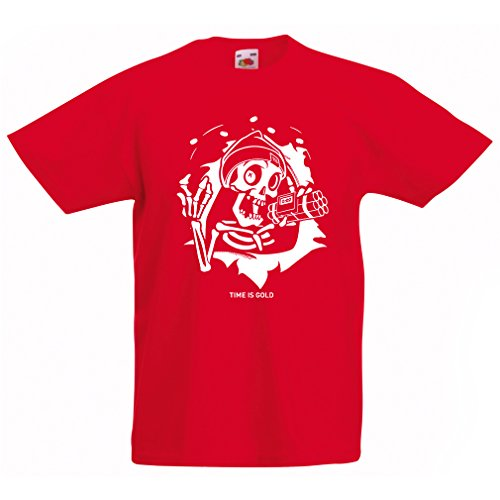 T shirts for kids The Skull - ticking bomb - Time is Gold quotes (7-8 years Red Multi Color) (Halloween Qutoes)